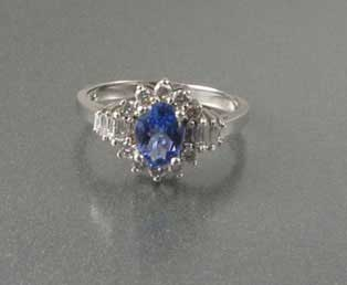 Tanzanite Diamond Baguette Ring