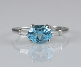 Topaz Diamond Platinum Ring