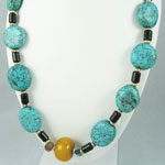 Large Ethnic, Tribal Turquoise and Amber Necklace